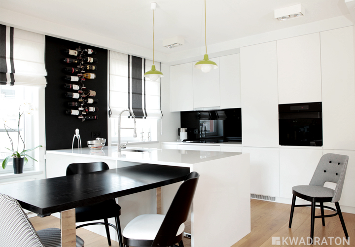 Biało czarna kuchnia  Kwadraton