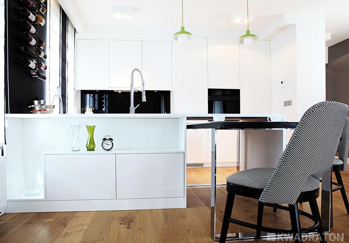 Biało czarna kuchnia  Kwadraton -> Kuchnia Bialo Czarna Z Salonem