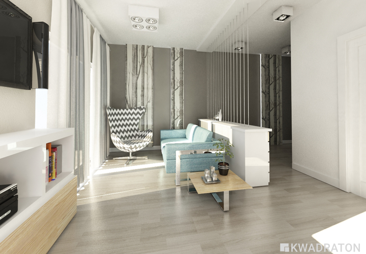 Małe mieszkanie w skandynawskim stylu  Kwadraton -> Kuchnia I Salon W Stylu Skandynawskim