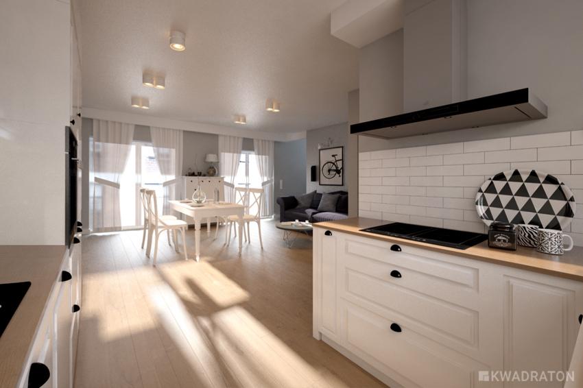 Kwadraton kuchnia w stylu skandynawskim z biala cegla