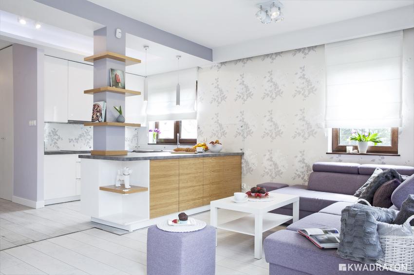 Kwadraton salon kuchnia styl skandynawski
